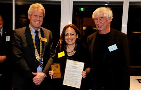 Rotary 17 8 16 Vocational Dinner Heba Oweis Neil McWhannell Brian Wexham WEB