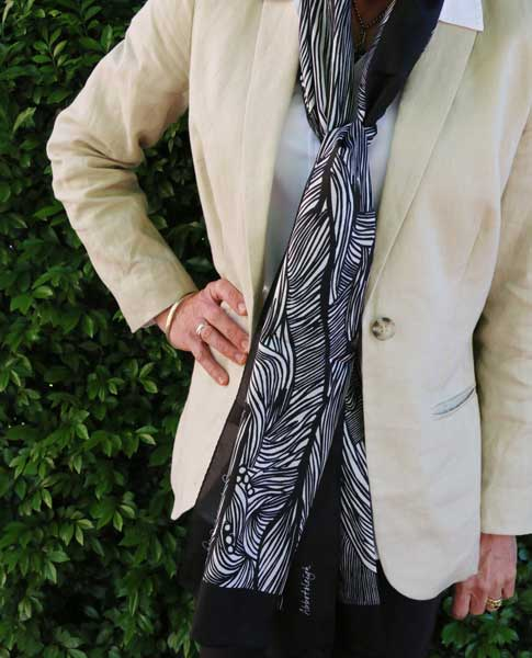 Abbotsleigh scarf by Hannah Ranby with jacket